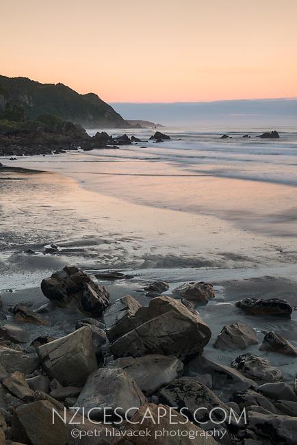 Rugged coastline near Punakaiki at dawn, Paparoa National Park, West Coast, New Zealand