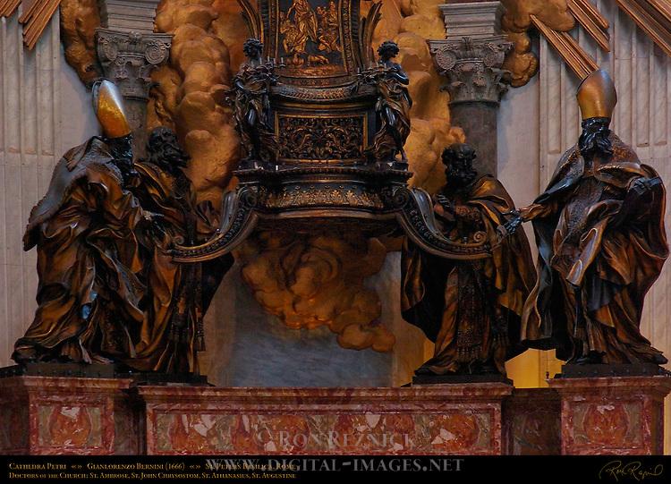 Cathedra Petri detail Chair of St Peter Gilded Bronze Doctors of the Church St Ambrose St John Chrysostom St Athanasius St Augustine GianLorenzo Bernini 1666 Apse St Peter's Basilica Rome