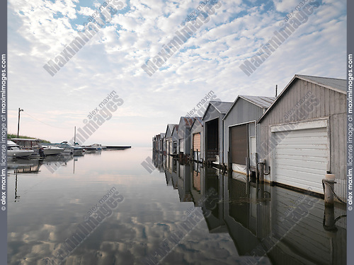 Boat houses at Port Rowan, Lake Erie Long Point at dawn, Ontario, Canada