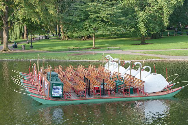 Swan boat in a lake in Boston Public Garden in Boston, Massachusetts