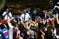 Philadelphia, PA - September 13, 2016: U.S. President Barack Obama enters the Eakins Oval park in Philadelphia, Pennsylvania, September 13, 2016, during a campaign stop in support of Hillary Clinton for president.  (Photo by Don Baxter/Media Images International)