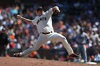 SAN FRANCISCO, CA - APRIL 27:  Mark Melancon #41 of the San Francisco Giants pitches against the Los Angeles Dodgers during the game at AT&T Park on Thursday, April 27, 2017 in San Francisco, California. (Photo by Brad Mangin)