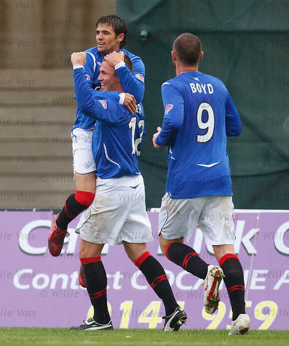 Nacho Novo celebrates his goal with Kenny Miller