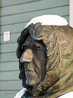 Statue of the actic explorer Roald Amundsen outside the Polar Museum in Tromso, Norway
