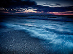 Beautiful dramatic stormy twilight nature scenery of lake Huron, Grand Bend, Ontario, Canada.