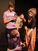 """Edmund"" received a gift of Turkish Delight from the ""Wicked Queen"" and becomes bewitched.  The Yvonne Arnaud Youth Theatre rehearsing ""The Lion, the Witch and the Wardrobe"", Guildford, Surrey."