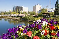Summer in downtown Fairbanks, golden heart park, chena river, Fairbanks, Alaska