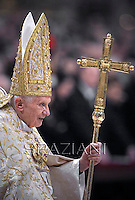 Pope Benedict XVI celebrates the Vespers and Te Deum prayers in Saint Peter's Basilica at the Vatican on December 31, 2012.