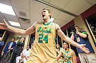 Mar. 26, 2015; Pat Connaughton (24) celebrates in the locker room after Notre Dame defeated Wichita State in the regional semifinal of the 2015 NCAA Tournament. Notre Dame won 81-70. (Photo by Matt Cashore/University of Notre Dame)