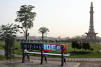 Celebrated young pakistani artist Asim Butt on a journey of political graffiti through Pakistan during the summer of 2009..'Bad Idea' in lahore is about the lahore resolution of 1940, which laid the groundwork for the independence movement for Pakistan as a seperate Muslim state from India. Commemorated by the monument in the background.
