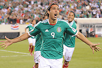 Mexico Aldo De Nigris (9) celebrates his score.  Mexico defeated Guatemala 2-1 in the quaterfinals for the 2011 CONCACAF Gold Cup , at the New Meadowlands Stadium, Saturday June 18, 2011.