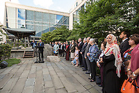 NEW YORK CITY, UNITED STATES SEPTEMBER 16, 2016: Participants at the annual Peace Bell Ceremony held in observance of the International Day of Peace at the United NationsHeadquarters in New York.. Photo by VIEWpress/Maite H. Mateo