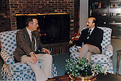United States President George H.W. Bush meets with President Carlos Salinas of Mexico at Camp David, Maryland on December 14, 1991.<br /> Mandatory Credit: Carol T. Powers / White House via CNP
