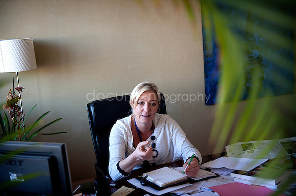 Marine Le Pen.copyright: Magali Corouge/Documentography.the 7th of February 2001 in Nanterre. portrait of Marine Le Pen, head of the Front National in Paris.