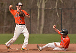 PLYMOUTH, CT-042017JS03- Terryville's Riley Zappone (6) turns a double-playa after getting Watertown's Cameron DeFeo (3) out on a force play at second during their game Thursday at Terryville High School in Plymouth. <br /> Jim Shannon Republican-American
