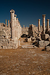 Pillars and blocks of stone, the remains of a building in Jerash