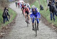 Zdenek Stybar (CZE/QuickStep), Ian Stannard (GBR/Team-SKY) riding away from Tiesj Benoot (BEL/Lotto-Soudal) up the Oude Kwaremont<br /> <br /> 69th Kuurne-Brussel-Kuurne 2017 (1.HC)