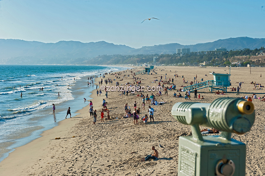 Santa Monica CA Beach, Telescope, Beach, Activities, People, Swimming,