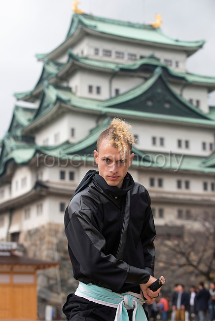 "Chris  ""Sora"" O'Neil poses for a photo in the grounds of Nagoya Castle, Aichi Prefecture Japan on Feb. 23, 2017. O'Neil is one of the eight ninja corps who roam the avenues of the castle and Nagoya Airport, jumping from behind trees and bushes to surprise visitors. ROB GILHOOLY PHOTO"