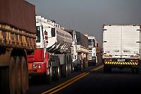 Large traffic of trucks in Sao Paulo State roads, Brazil.