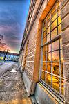 Berlin palace window with sunset lighting
