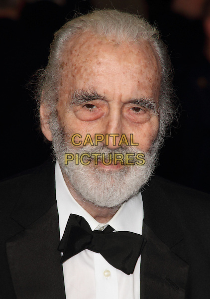 Sir Christopher Lee.Royal World Premiere of 'Skyfall' held at the Royal Albert Hall, London, England..October 23rd, 2012.headshot portrait black white bow tie beard facial hair tuxedo  .CAP/ROS.©Steve Ross/Capital Pictures.