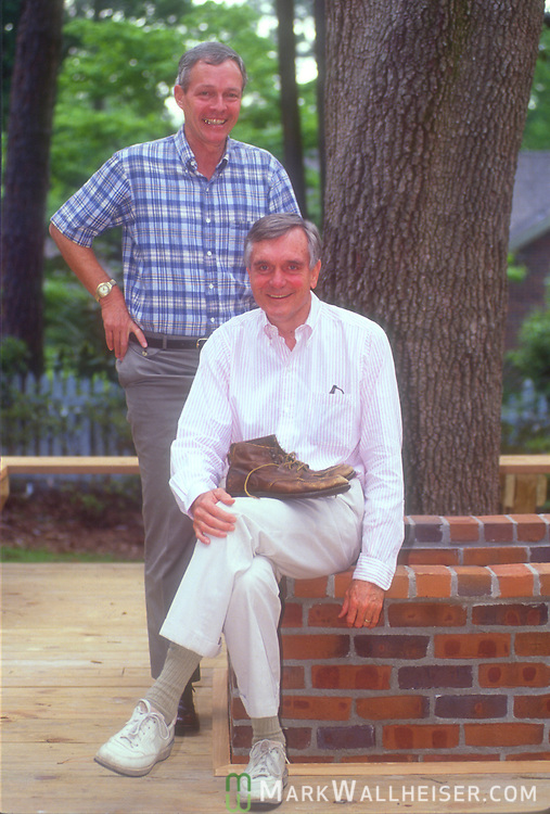 """Walking"" Lawton Chiles with his running mate Buddy MacKay during a planning session during his first run for Governor for Florida on April 18, 1990"