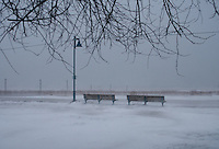 Woodbine Beach Volleyball Courts during a snow storm Toronto Ontario Canada North America