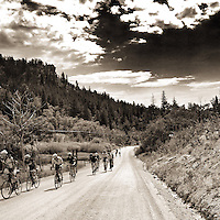 Riders tackle the climbs of Twin Spruce Road, a dirt road used for the 2014 Colorado Rapha Gentleman's Race. The road travels between Coal Creek Canyon Road and Peak-to-Peak Highway, high in the Rocky Mountains.