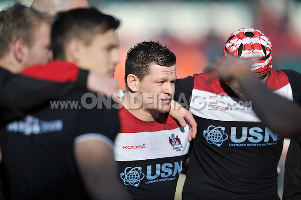 Darren Dawidiuk looks on during the pre-match warm-up. Aviva Premiership match, between Leicester Tigers and Gloucester Rugby on February 16, 2014 at Welford Road in Leicester, England. Photo by: Patrick Khachfe / JMP