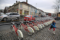 Bysykler. Bicykles belonging to the town of Trondheim. Bakklandet.