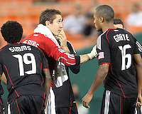 Troy Perkins #23 of D.C. United talks to Jordan Graye #16 during an MLS match against the San Jose Earthquakes at RFK Stadium in Washington D.C. on October 9 2010. San Jose won 2-0.