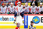 10 February 2010: Washington Capitals' left wing forward and Team Captain Alex Ovechkin sits on the boards during a time out from game action against the Montreal Canadiens at the Bell Centre in Montreal, Quebec, Canada. The Canadiens defeated the Capitals 6-5 in sudden death overtime, ending Washington's team-record winning streak at 14 games. Mandatory Credit: Ed Wolfstein Photo