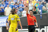 Emmanuel Ekpo shown yellow card by referee Alejanro Mariscal...Kansas City Wizards were defeated 1-0 by Columbus Crew at Community America Ballpark, Kansas City, Kansas.