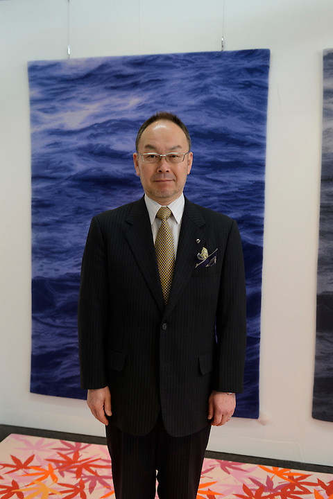 Oriental Carpet Mills President Hiroaki Watanabe, Yamanobe-machi, Yamagata, Japan, April 12, 2016. Oriental Carpet Mills was founded in 1935 and produces luxury hand-woven and tufted carpets. Its carpets are used all over the world, including in the Vatican, the Imperial Palace in Tokyo and the Kabukiza Kabuki Theatre.