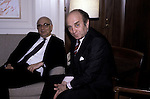 German Finance Minister Otto Graf von Lammsdorff (right) and Chairman of the Federal Reserve Paul Volcker in 1983