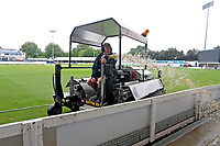 The blotter is used to clear water from the outfield ahead of Essex CCC vs Hampshire CCC, Specsavers County Championship Division 1 Cricket at The Cloudfm County Ground on 19th May 2017