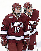 Marissa Gedman (Harvard - 16), Gina McDonald (Harvard - 10) - The Harvard University Crimson defeated the Northeastern University Huskies 4-3 (SO) in the opening round of the Beanpot on Tuesday, February 8, 2011, at Conte Forum in Chestnut Hill, Massachusetts.