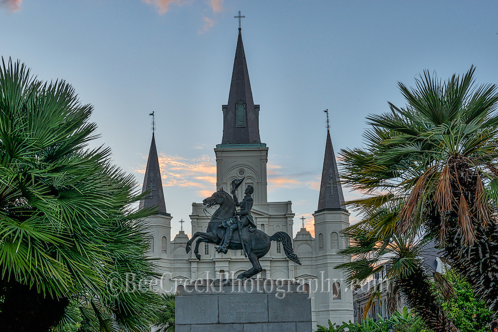 Jackson Square statue with the Saint Louis Cathedral as dusk set in.