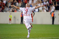Luke Rodgers (9) of the New York Red Bulls celebrates scoring. The New York Red Bulls defeated Toronto FC 5-0 during a Major League Soccer (MLS) match at Red Bull Arena in Harrison, NJ, on July 06, 2011.