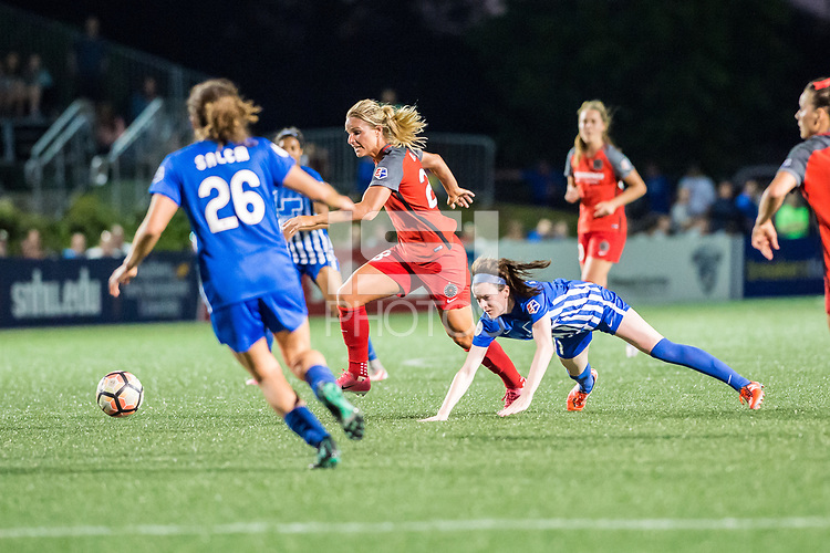 Boston, MA - Friday May 19, 2017: Amandine Henry and Rose Lavelle during a regular season National Women's Soccer League (NWSL) match between the Boston Breakers and the Portland Thorns FC at Jordan Field.