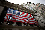 Outside the New York Stock Exchange during a day in which the American legislative system negotiated a $700 billion bailout plan for the ailing Wall Street financial institutions.
