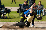 WATERBURY,  CT-051117JS15- WCA's Megan Romaniello (2) slides safely into third as the throw skips past Crosby's Stephanie Amatruda (6) during their game Thursday at Huntingdon Park in Waterbury. <br />  Jim Shannon Republican-American