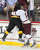 Trevor Gooch (CC - 2), Zach Walker (BC - 14) - The Boston College Eagles defeated the visiting Colorado College Tigers 4-1 on Friday, October 21, 2016, at Kelley Rink in Conte Forum in Chestnut Hill, Massachusetts.The Boston College Eagles defeated the visiting Colorado College Tiger 4-1 on Friday, October 21, 2016, at Kelley Rink in Conte Forum in Chestnut Hill, Massachusett.