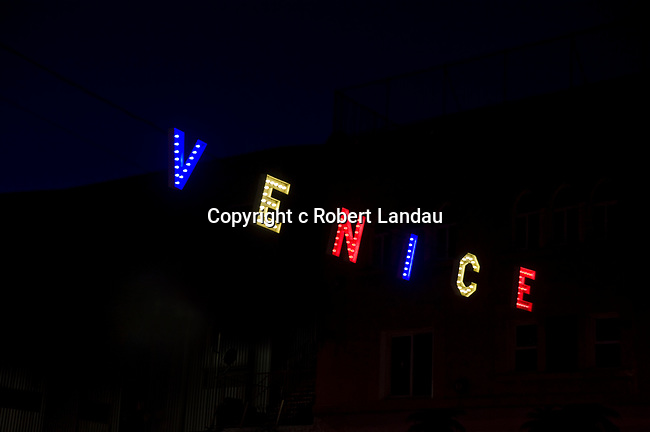 Lit sign in Venice, California at night