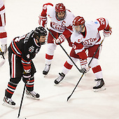 Dan Cornell (NU - 4), Wade Megan (BU - 18), Matt Ronan (BU - 20) - The Boston University Terriers defeated the visiting Northeastern University Huskies 5-0 on senior night Saturday, March 9, 2013, at Agganis Arena in Boston, Massachusetts.