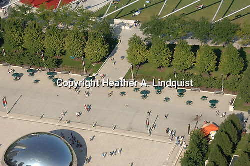 """Cloud Gate"" by Anish Kapoor in Millenium Park.  Taken from Willoughby Tower on Michigan Avenue."