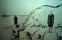 Old drawing showing the execution of American filibuster William Walker in Honduras, Museo Historico Juan Santamaria, Alajuela, Costa Rica