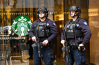 NEW YORK, NY - APRIL 4: A NYPD officers stand guard at Trump Tower Where United States First Lady Melania Trump is living on April 4, 2017 in Manhattan, New York. Police Commissioner James O'Neill told lawmakers in February it costs the NYPD between $127,000 and $146,000 a day to protect the first lady and her 11-year-old son Barron. When the president is in town, the city pays more than $308,000.  Photo by VIEWpress/Kena Betancur