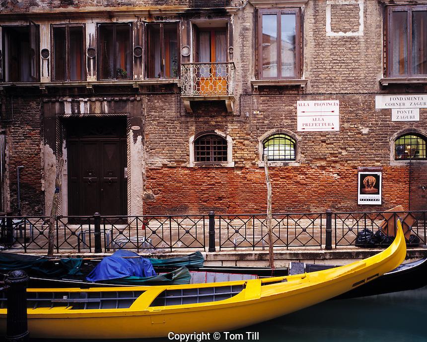 Yellow Gondola, Venice, Italy   Near the Grand Canal   Adriatic Sea